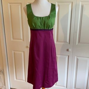 Boden Purple and Green Lined Sheath Dress Size 12R